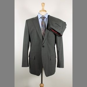 Hugo Boss 44R 37x30 Gray Flat Wool Suit 96-Z